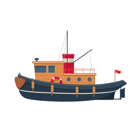 Illustration of wooden tugboat Vettoriali