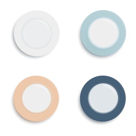 Empty plates on white background