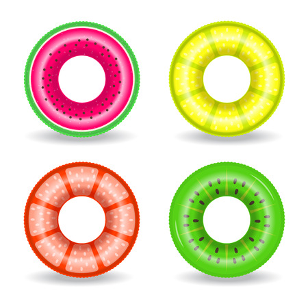 Set of inflatable swim rings with exotic fruits design. Vector illustration