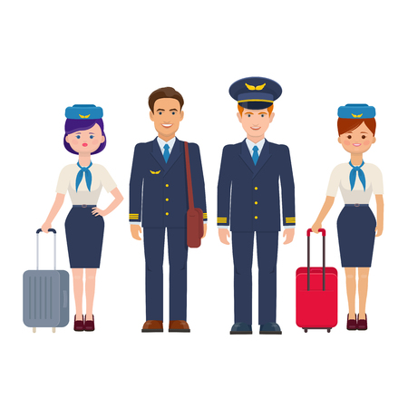 Grupo de pilotos y asistentes de vuelo con equipaje sobre fondo blanco. La tripulación de vuelo de aviones comerciales. Ilustración vectorial