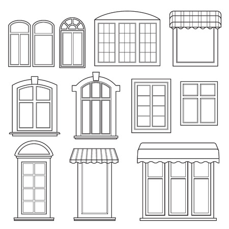 Set of various windows with awnings in linear style. Vector illustration on white background