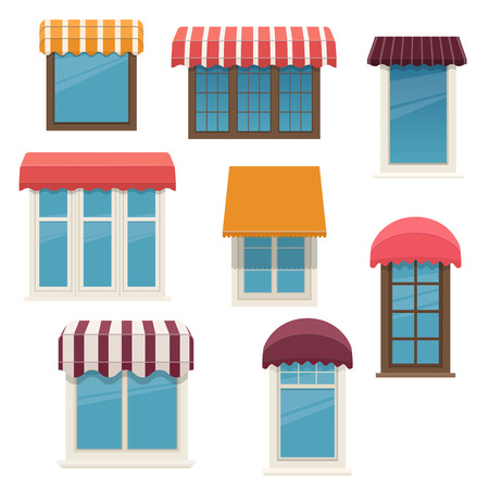 Set of different windows with outside awnings. Architecture elements of the building facades. Vector illustration on white background Illustration