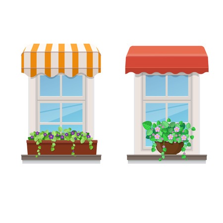Two windows with awnings and flowers in pots. Vector illustration on white background Foto de archivo - 105978210