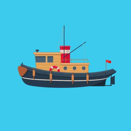 Wooden tugboat. Vector illustration on blue background 向量圖像