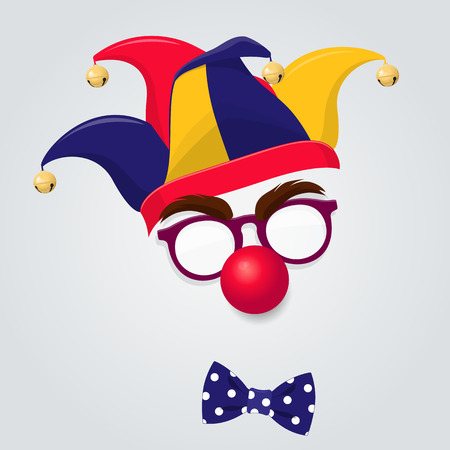 Funny Clown accessories. Colored jester hat with clown glasses, red nose and bow tie on white background. Vector illustration of April Fools Day and Carnival
