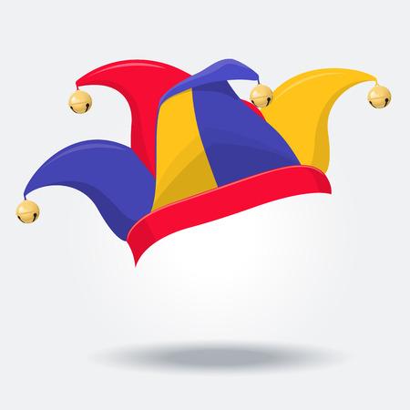 Sombrero de bufón de color con campanas en blanco