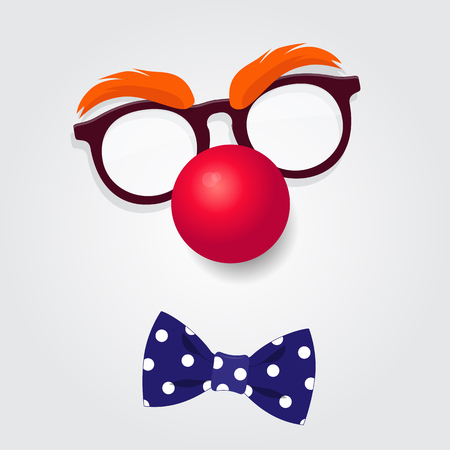Funny Clown accessories. Clown glasses, red nose and bow tie on white background. Vector illustration of April Fools Day and Carnival