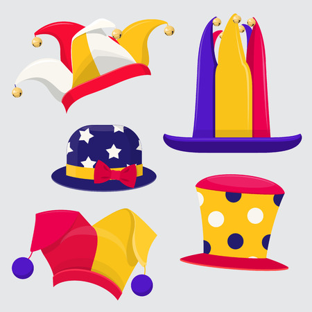 Set of fanny jester hats. Colored jester hats of different shapes.Vector illustration on gray background