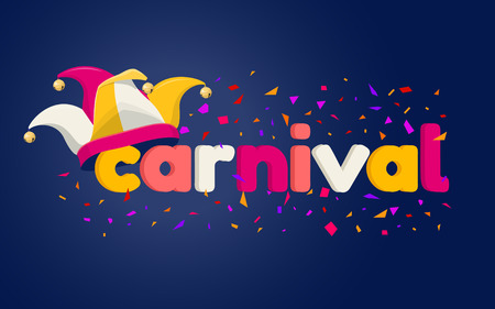 Colorful carnival card with typography design, jester hat and confetti on dark background. Vector illustration 일러스트