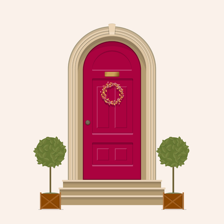 Red front door of house with pot plants. Vector illustration