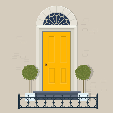 Yellow front door with two potted plants in pots and cast iron fence. Vector illustration