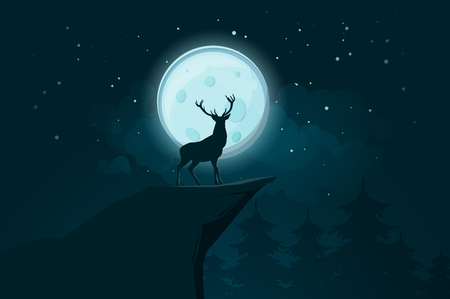 Deer stands on a rock at a moonlit night. Vector illustration
