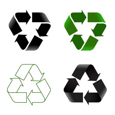 Recycle icon set. Vector illustration of different recycle signs on white background