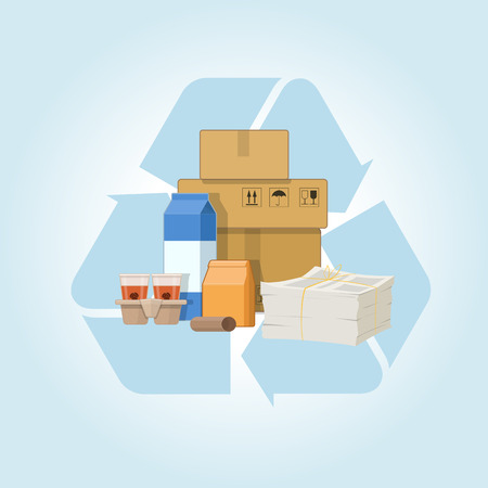 Different kinds of recycled cardboard and paper garbage on the recycle symbol background. Vector illustration on blue background