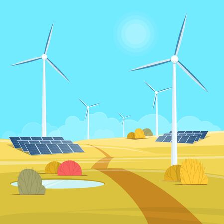 Green energy. Landscape with wind tribune and solar battery. Vector illustration