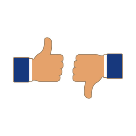 Thumbs up and thumbs down, like and dislike. Icons for social network. Vector illustration in flat style on white background
