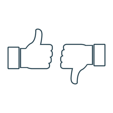 Thumbs up and thumbs down, like and dislike. Icons for social network. Vector illustration in line style on white background