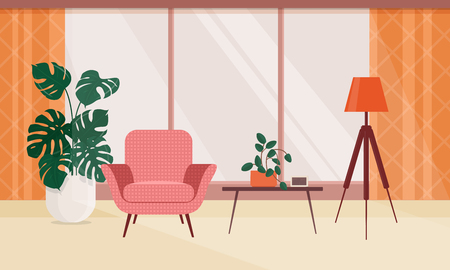 Living room interior with furniture and houseplants. Vector illustration in flat style 일러스트