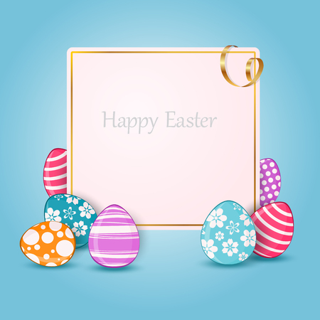 Happy Easter card with colorful eggs and place for text. Vector illustration