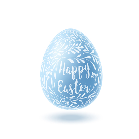 Blue Easter egg with floral pattern on white background. Vector illustration