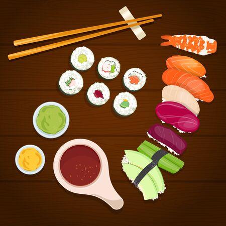Sushi rolls, sauce and chopsticks ona wooden background. Vector Illustration