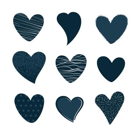 Set of hand drawn hearts. Vector illustration