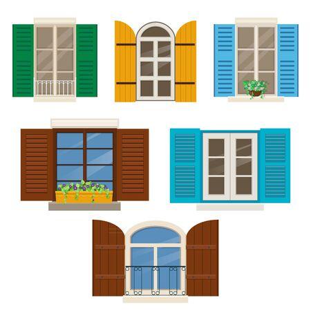 Offene Fenster mit Rollläden. Verschiedene Fenster mit bunten Fensterläden und Fensterpflanzen. Vektor-Illustration Vektorgrafik