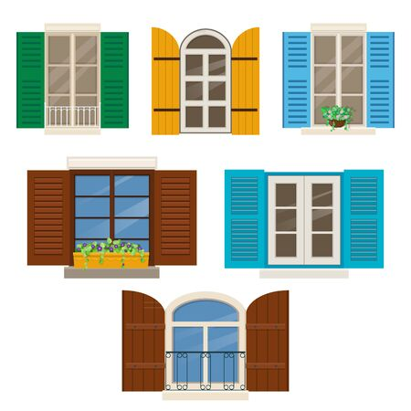 Open windows with shutters. Different windows with colorful shutters and window plants. Vector illustration Vetores