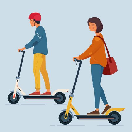 A young man and a woman ride an electric scooters. Personal eco transportation. Vector illustration. Stok Fotoğraf - 126367216