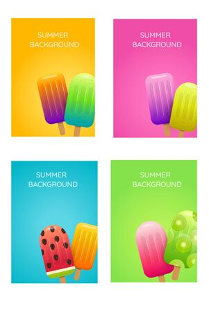 Summer backgrounds with fruit ice cream Can be used for special offers, invitations, posters and banners. Vector illustration