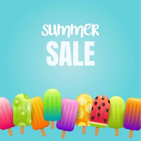 Eis am Stiel. Sommerverkaufshintergrund mit Fruchteis. Fruchteis am Stiel auf blauem Hintergrund. Vektor-Illustration