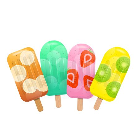 Fresh fruit popsicles. Mint, banana, strawberry and kiwi popsicles