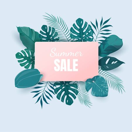 Summer sale background with exotic tropical leaves Illustration