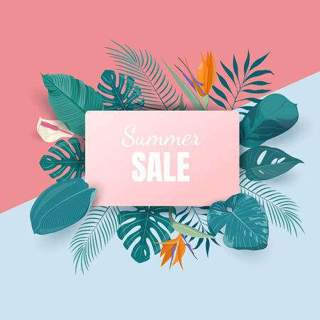 Summer sale banner template Illustration