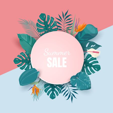 Summer sale background with tropical plants Çizim
