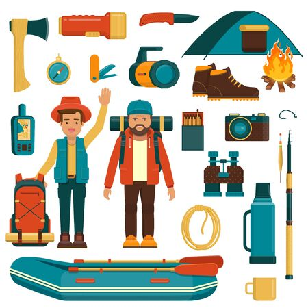 Set of camping, fishing and hiking equipment