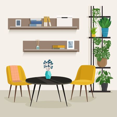 Living room interior with furniture and houseplant