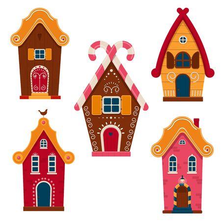 Conjunto de lindas casas coloridas de cuento de hadas. Casas de dibujos animados y cabañas decoradas con glaseado y dulces. Ilustración vectorial