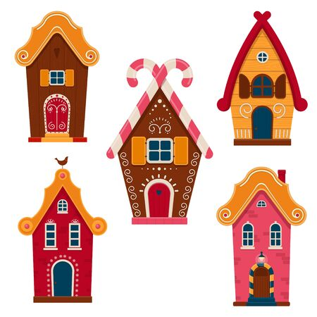 Set of cute colorful fairy tale homes. Cartoon houses and cottages decorated icing and sweets. Vector Illustration