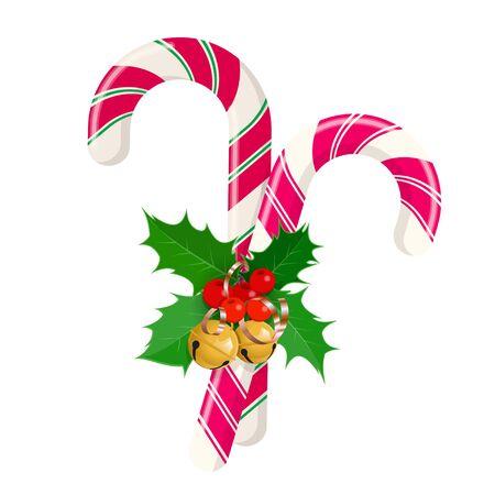 Bastones de caramelo de Navidad con arcos y adornos. Elementos gráficos para año nuevo Navidad y año nuevo. Ilustración vectorial sobre fondo blanco.