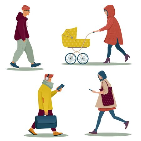 Group of modern walking people in casual clothes. Flat vector illustration