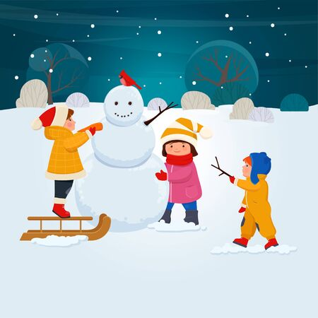Winter kids  outdoor activities. Children in winters clothes make a snowman in winter. Children in Winter. Vector illustration  向量圖像