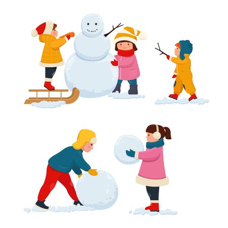 Winter kids  outdoor activities. Boys and girls in winters clothes make a snowman in winter. Vector illustration on white