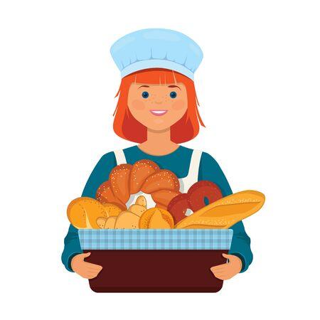 Girl baker holds a basket with fresh bread. Character vector Illustration on white background 向量圖像