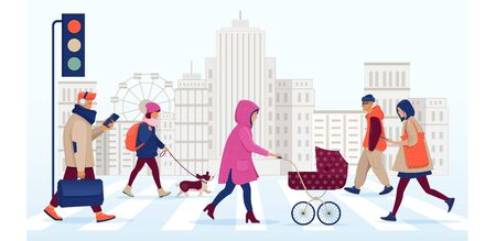 Pedestrians crossing a street in a big town. In the background there are skyscrapers. Flat vector illustration Illustration