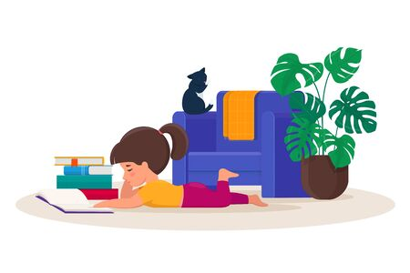 Little girl lying on the floor reading a book at home. Vector illustration on white background 向量圖像