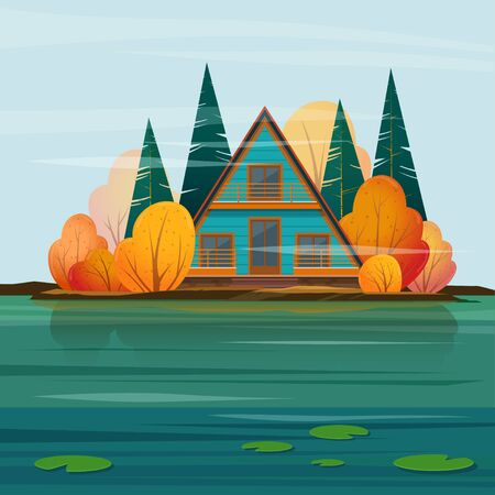 Autumn landscape with a  A-frame cabin on the lake. Vector illustration Иллюстрация