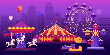 Amusement park on a city landscape background Illustration