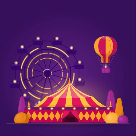 Illustration with amusement park on purple background 向量圖像