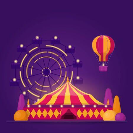Illustration with amusement park on purple background Illustration
